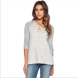 Splendid lace-up striped hoodie -size small